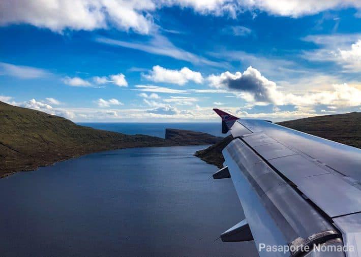 lago sorvagsvatn desde el avion en las islas feroe