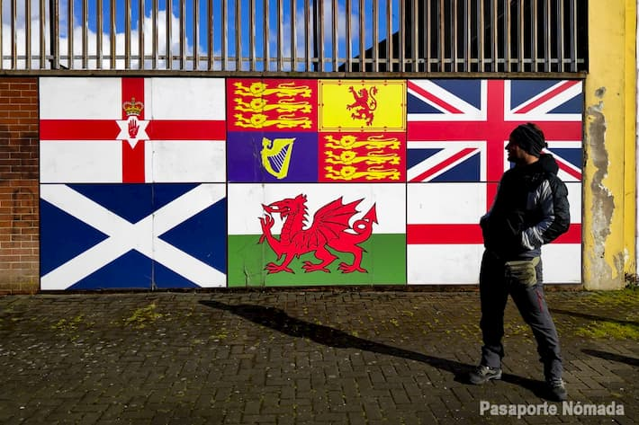 banderas regiones constitutivas del reino unido mural en belfast