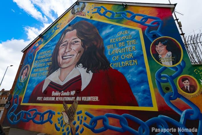 mural del preso boby sands fallecido en una huelga de hambre