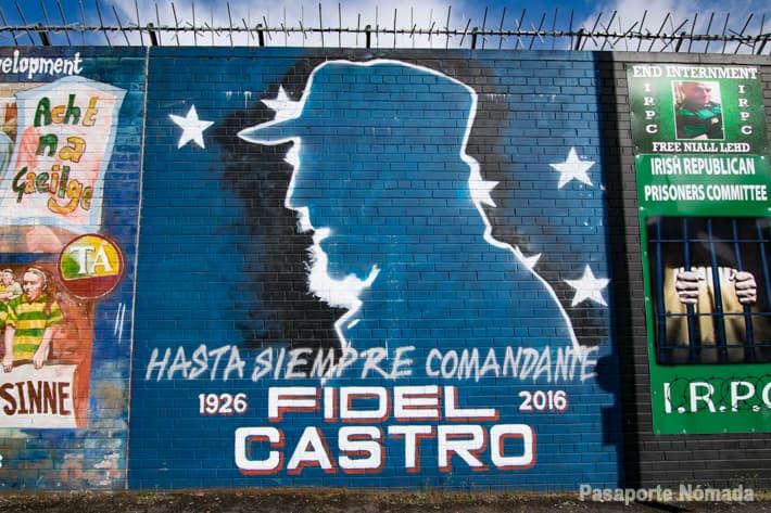 mural fidel castro en west belfast