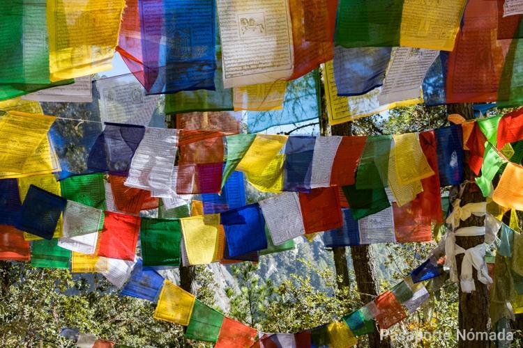 banderas de plegaria en el camino al nido del tigre en butan