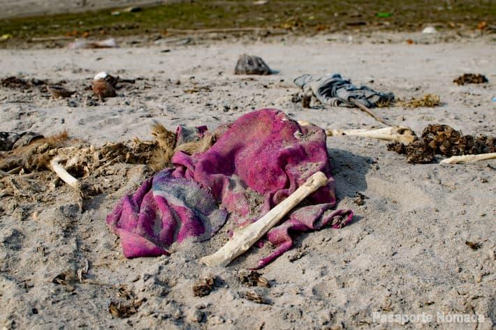 restos humanos y ofrendas en el rio ganges