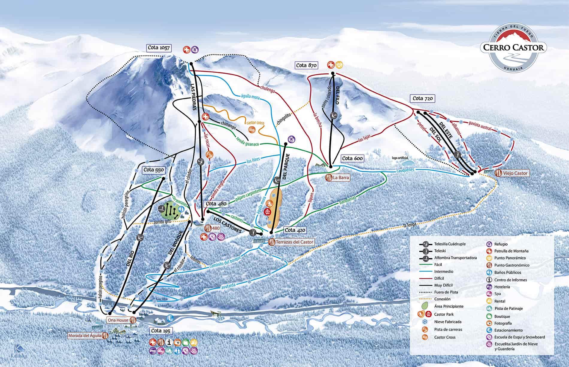 esqui en ushuaia mapa de pistas de cerro castor