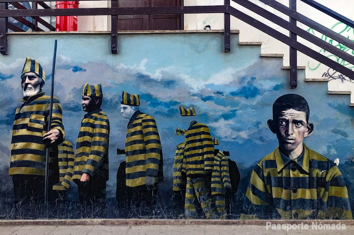 mural de presos politicos en las calles de ushuaia